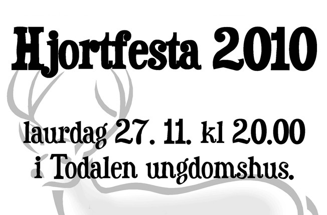 Hjortfest  laurdag  kl  20