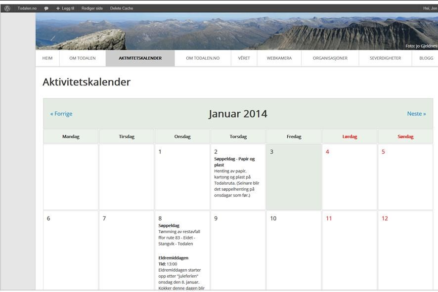 send oss informasjon til aktivitetskalenderen