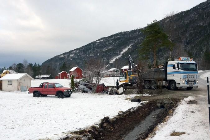 I november vart gammelhytta revet, og tomta gjort klar for ny hytte.   Foto: Jon Olav Ørsal