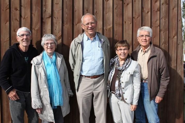 Styret i Senioruniversitetet: Styrkår Brørs,  Johanne Valsø Lervik , Eivind Hasle,  Helene M. Nergård og  Kåre Sæterbø i 2014. Foto:Trollheimsporten.