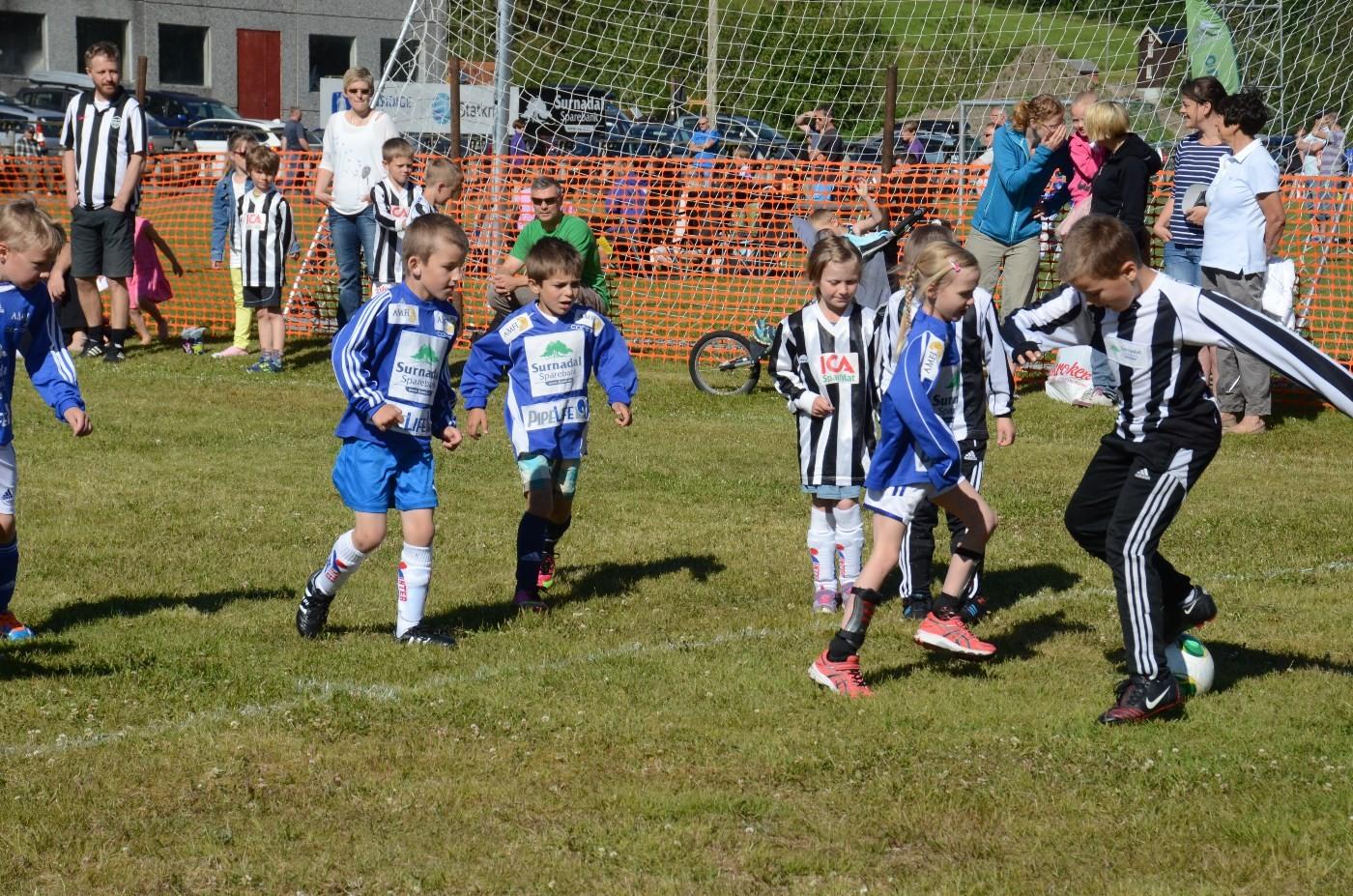 Kamp om ballen heile dagen - ein fenomena innsats frå både knøtter, lilleputter og andre.  Foto: Jon Olav Ørsal