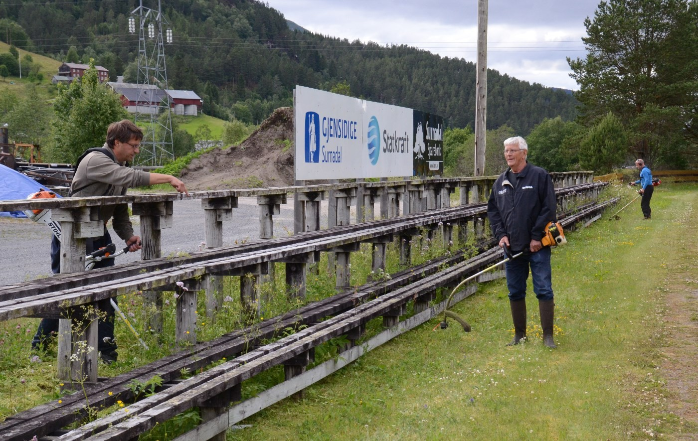 Slåttadugnad - frå venstre Carten Bohle, Gudmund Kvendset og bak Gudmund Husby.  Arkivfoto: Jon Olav Ørsal