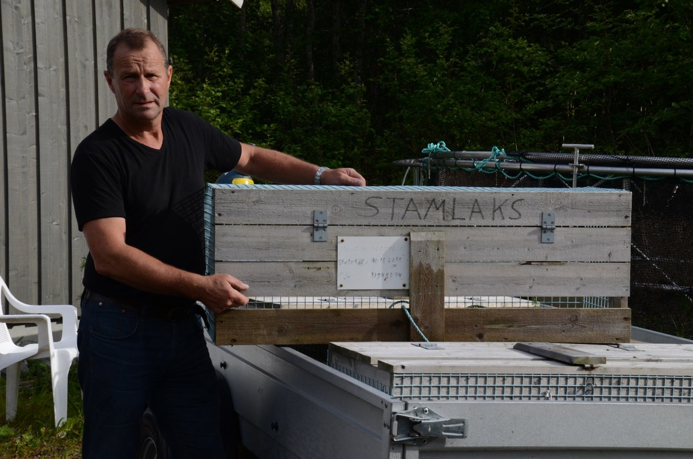 No er laksekassane på plass ved Toåa.  Foto: Jon Olav Ørsal