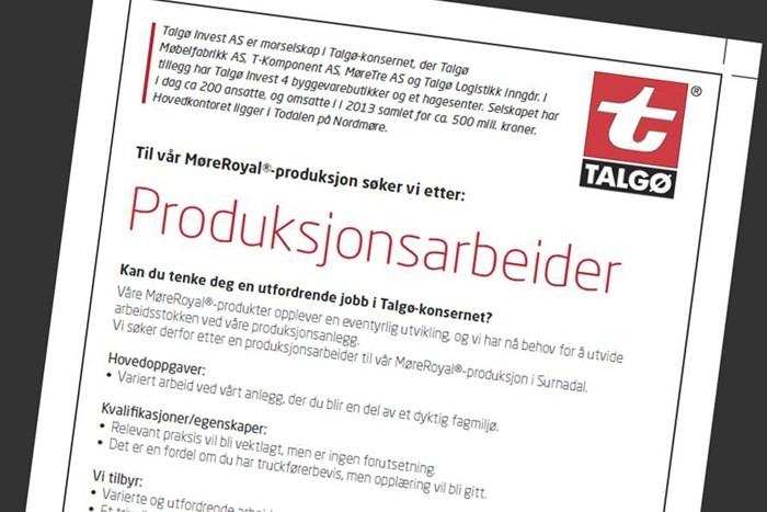 Talgøbedrifta MøreTre treng produksjonsarbeidar.