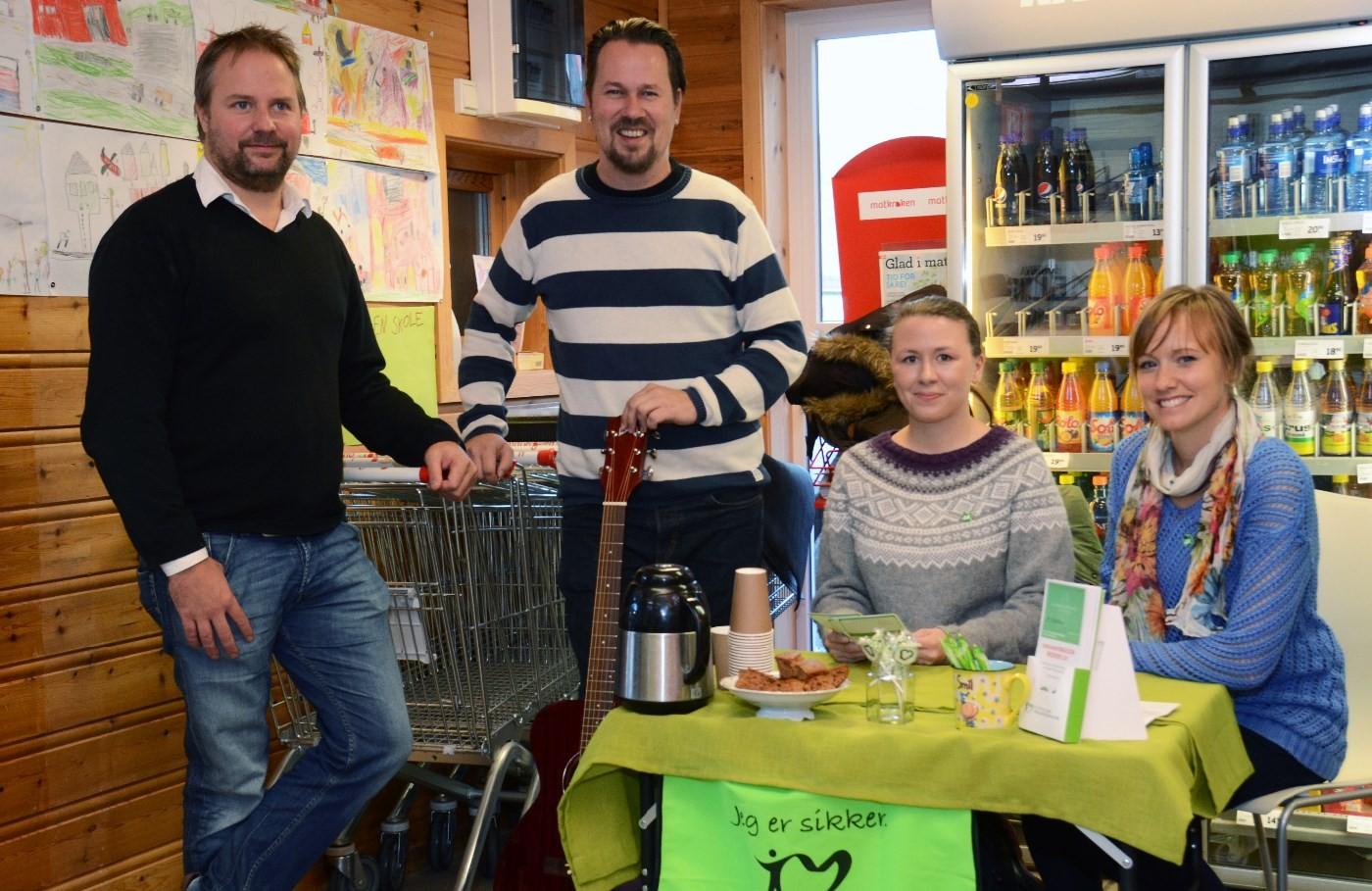 Markerte donordagen - frå venstre Svein Håvard Saksen, Inge Bævre, Fay Johansen og Ingvild Kårvatn.