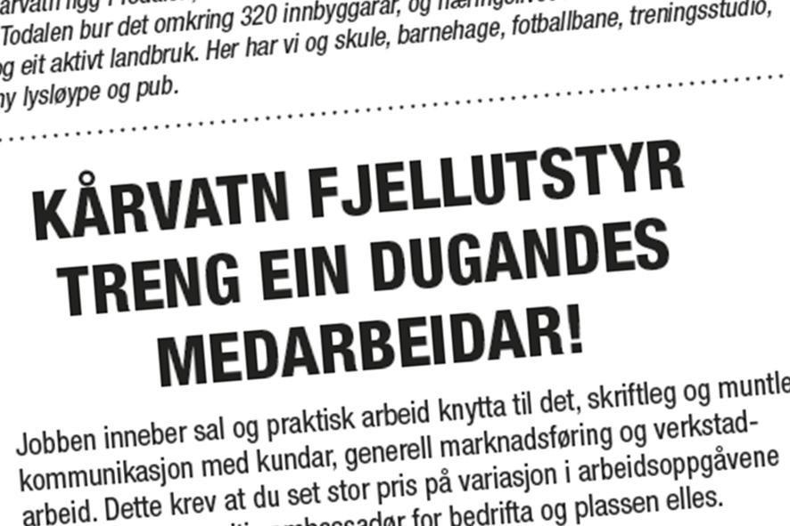 Faksimile av annonsen i Drivas fredagsavis.