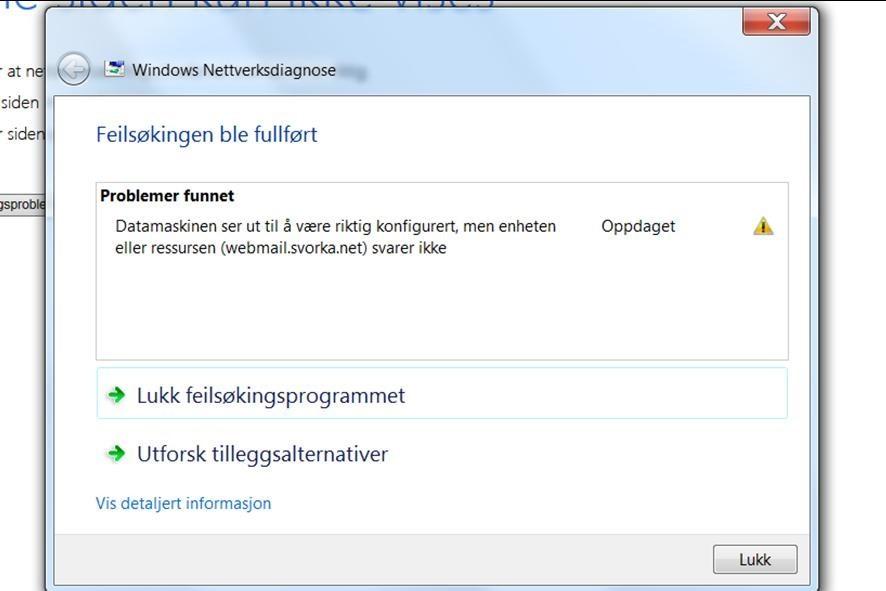 det er problem med å kome i kontakt med mailserveren til Svorka Aksess.
