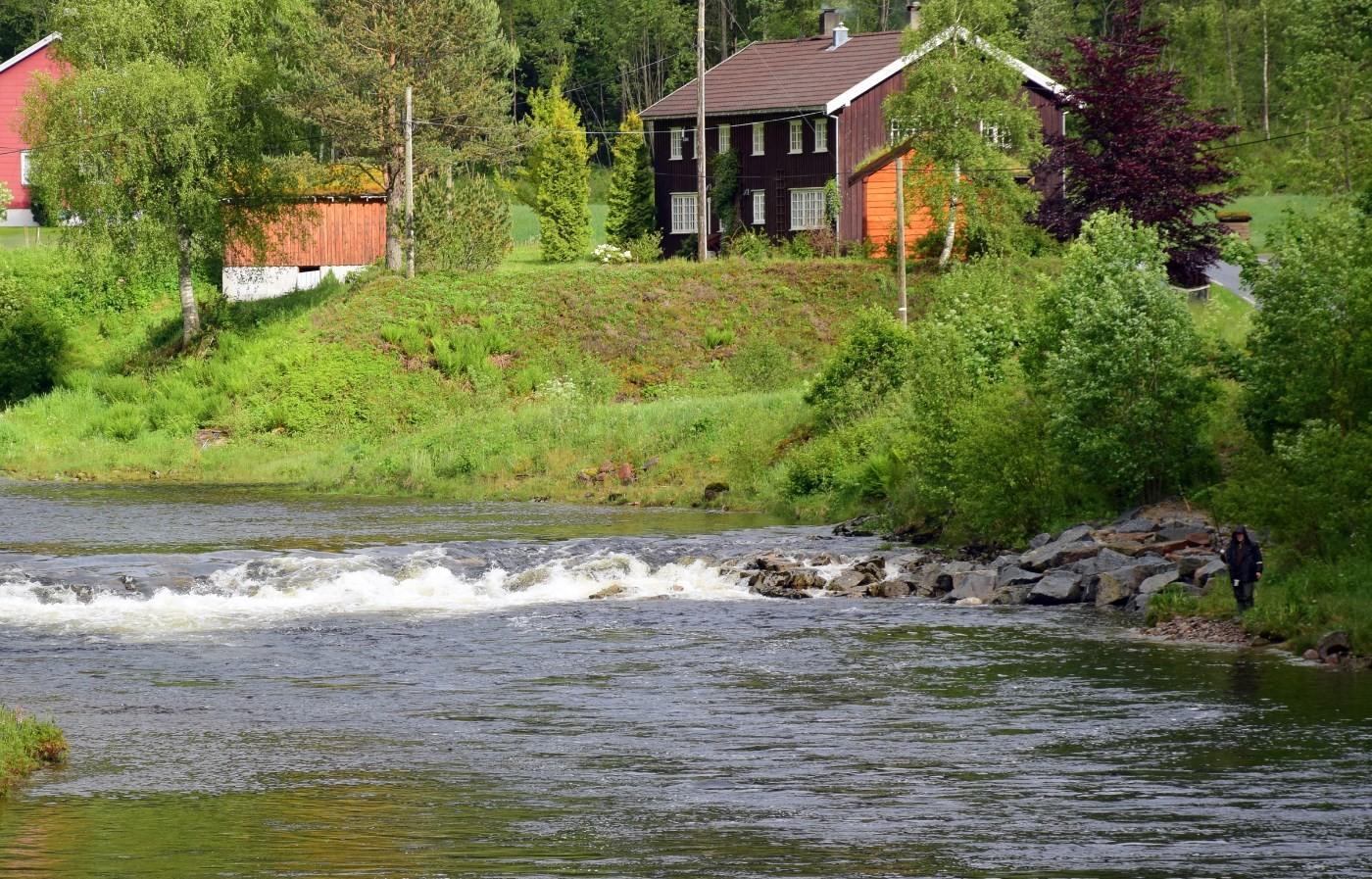 Laksefiskar på plass ved Raudåhølen - godt kledd for å halde varmen i regnværet. Foto: Jon Olav Ørsal