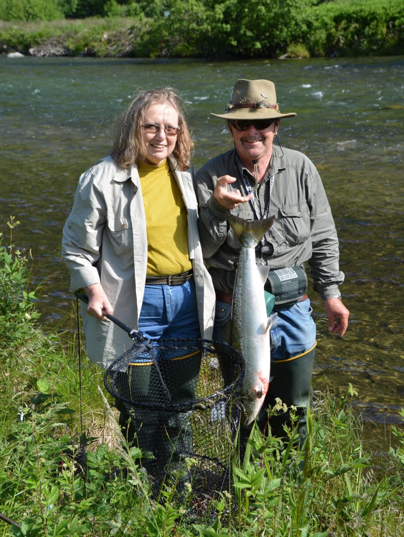 Rundt 5 kg var dagens fangst for det tyske paret fra Freiburg i Tyskland.  Foto: Kristen Bruset