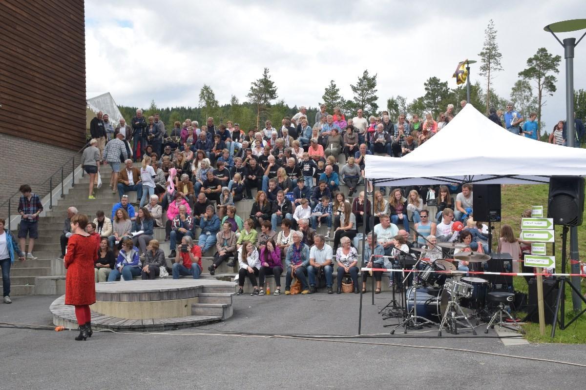 Det var mange som nytta høvet til ¨å sjå innom Halsadagen 2015 ved Halsahallen på Liabø.  Foto: Jon Olav Ørsal
