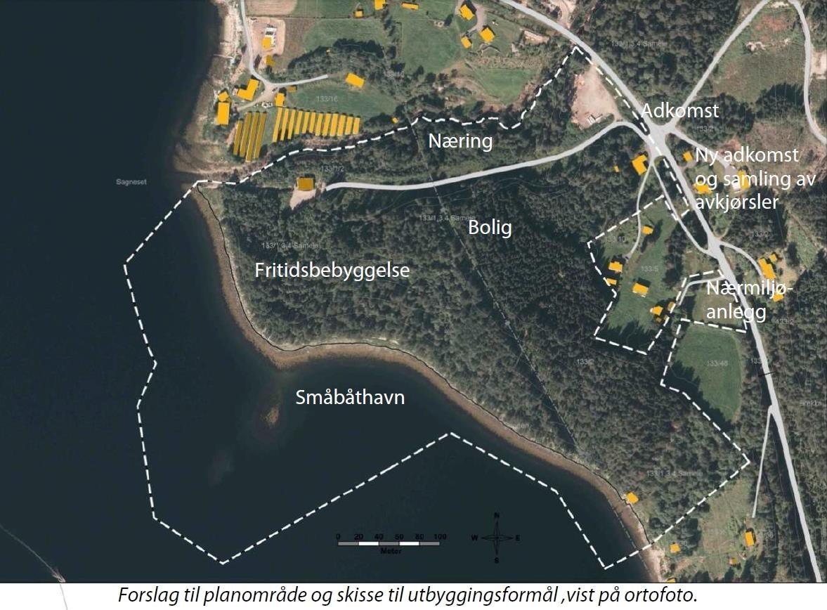 Kart over området ved Øygarden  bustad- og hyttefelt.  Fotomontasje: Surnadal kommune