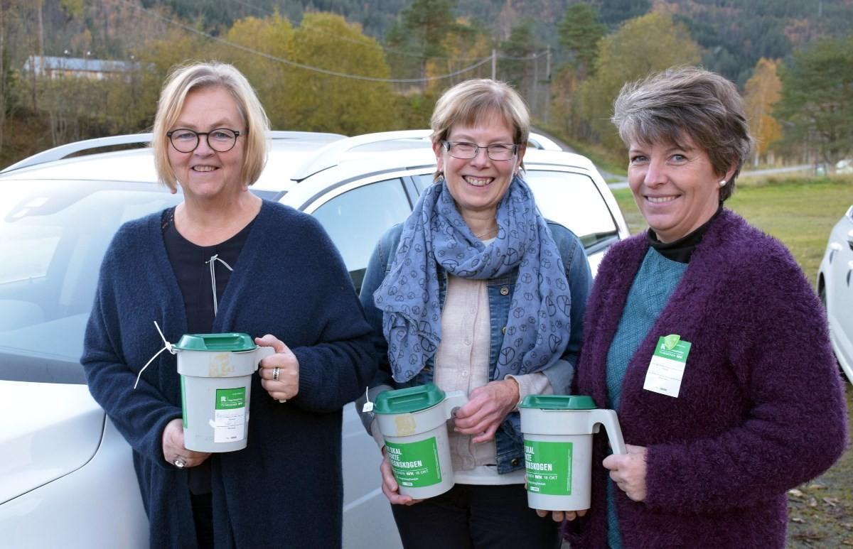 Ragnhild A. Moe, Dordi Jorunn Halle og Ingrid Pedersen samla inn frå Ansneset til Kårvatn på sørsida av bygda.  Foto: Jon Olav Ørsal