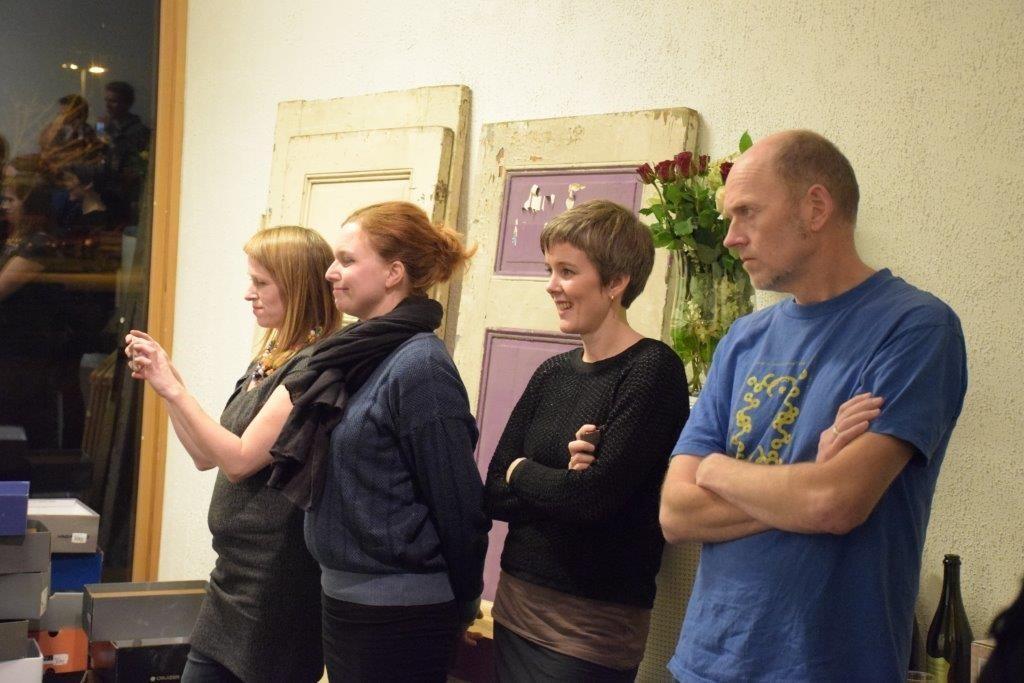 Frå venstre prosjektkoordinator og kurator Ingunn Myrstad, Toril Redalen, Siri Skjerve og Pål Bøyesen.  Foto: Jon Olav Ørsal