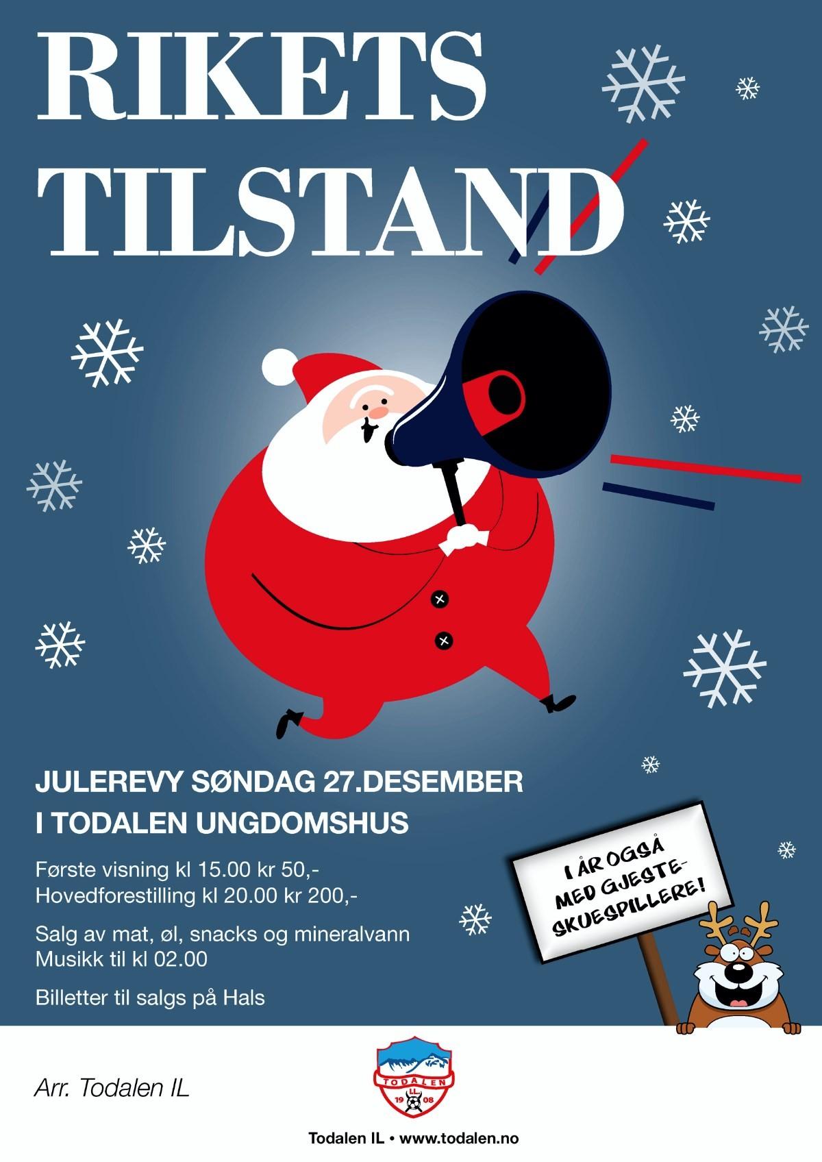 """Rikets tilstand"" heiter årets julerevy.  Plakatdesign: Lillian Halle"