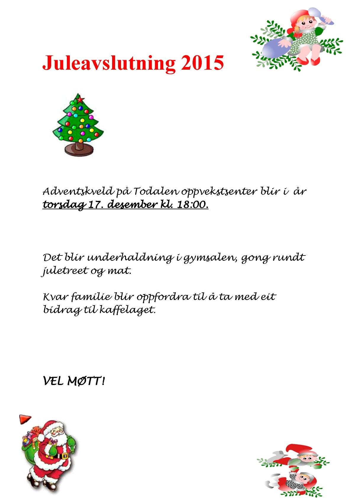 Plakat Juleavslutning 2015