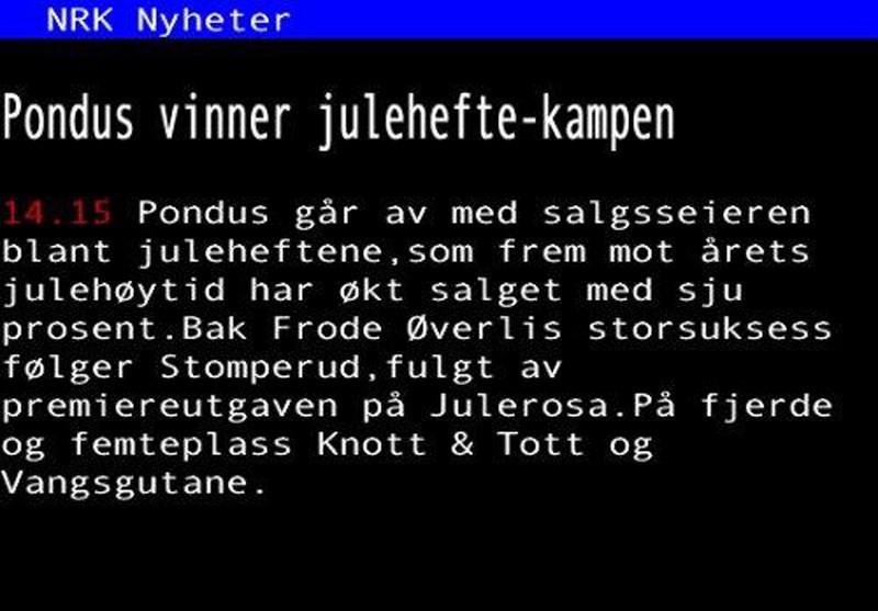 Klipp frå NRK TextTV fredag.
