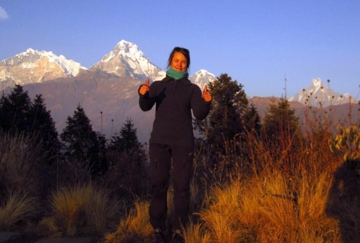 28)Fantastisk utsikt. Annapurna 1 f.v. Annapurna South, Hiunchuli og Machhapuchhre.  oto: Lisabet Svinvik