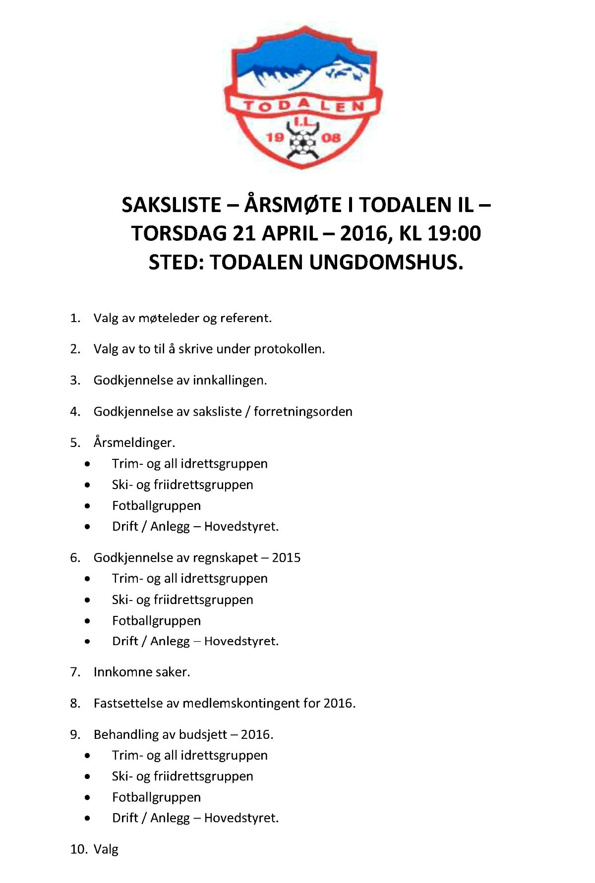 Saksliste - 2016 - Todalen IL
