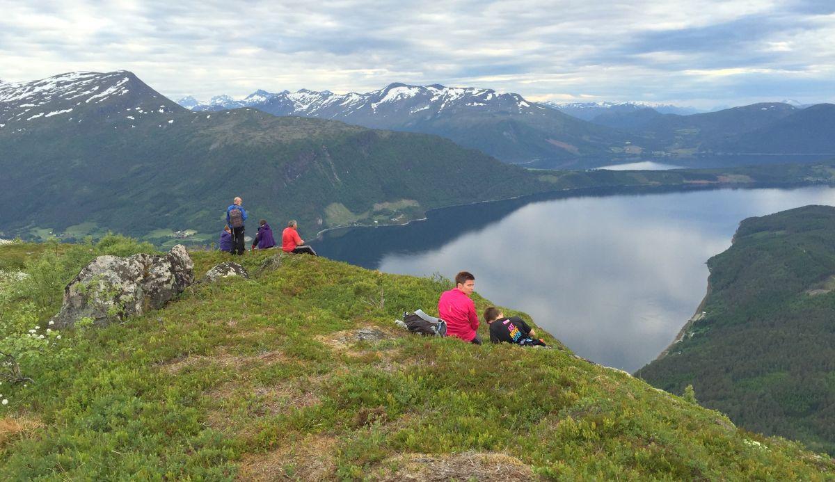 Utsikt utover fjorden frå toppen av Åsbøsnytå. Foto Dordi J H