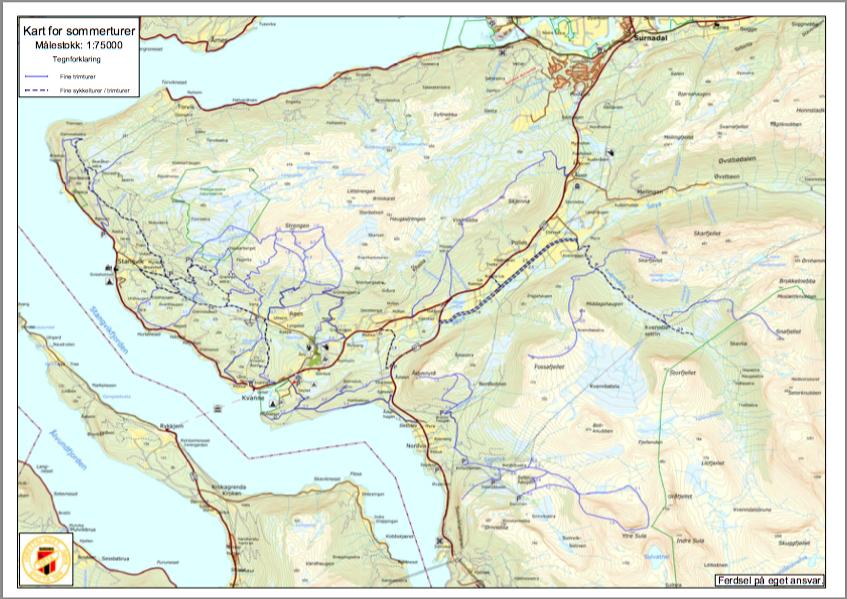 Kart over alle sommerturar