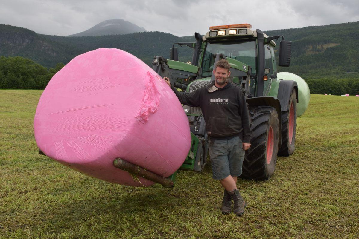Odd Harald Talgø samla siloballar for Todalen Mjølk, og hadde både rosa, grøne og kvite ballar i kolleksjonen.  Foto: Jon Olav Ørsal