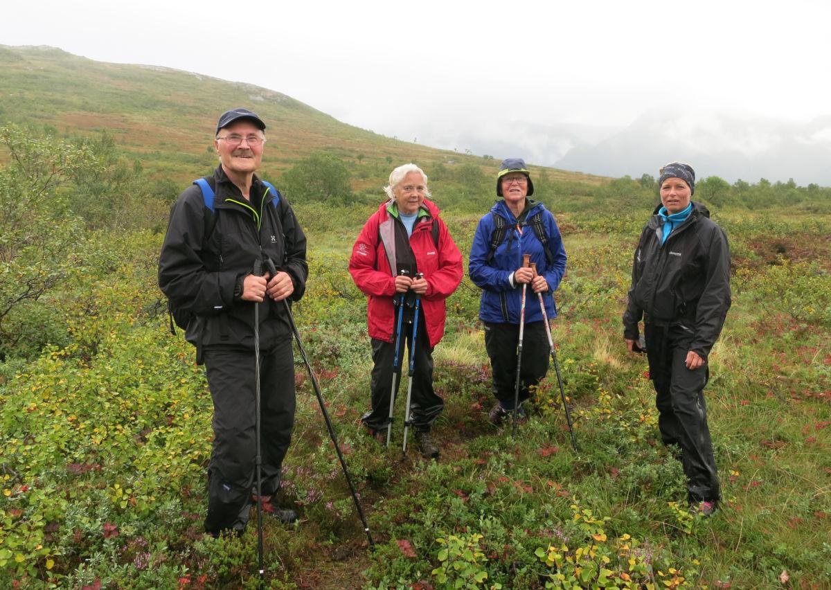 På tur over fjellet. Anders Lillebråten saman med Sigrun Ørsal, Marit S. Søyset og Jorunn Nordvik.  Foto: Inge Nordvik