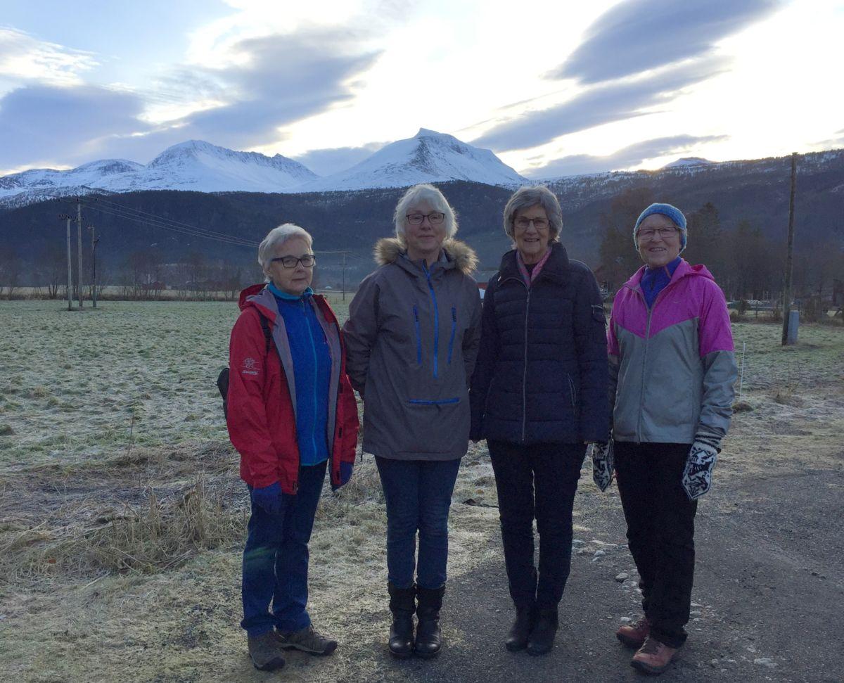 Sanitetskvinner inviterer alle med på tur. Frå venstre Sigrun, Åse, Jorunn og Marit. Foto: Dordi J H