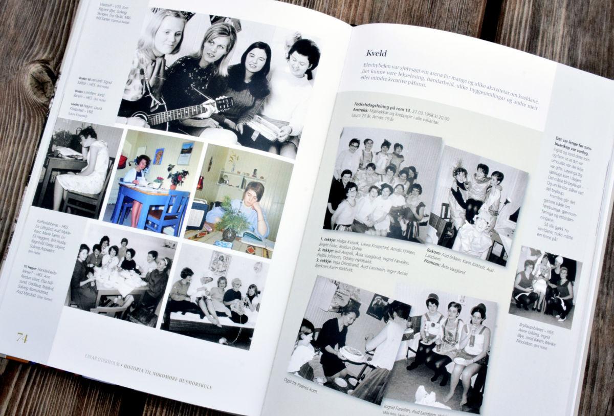 Det er mange bilder i boka - både frå aktivitetar på skulen og alle klassebileta er med.  Repro: Driva/Jon Olav Ørsal