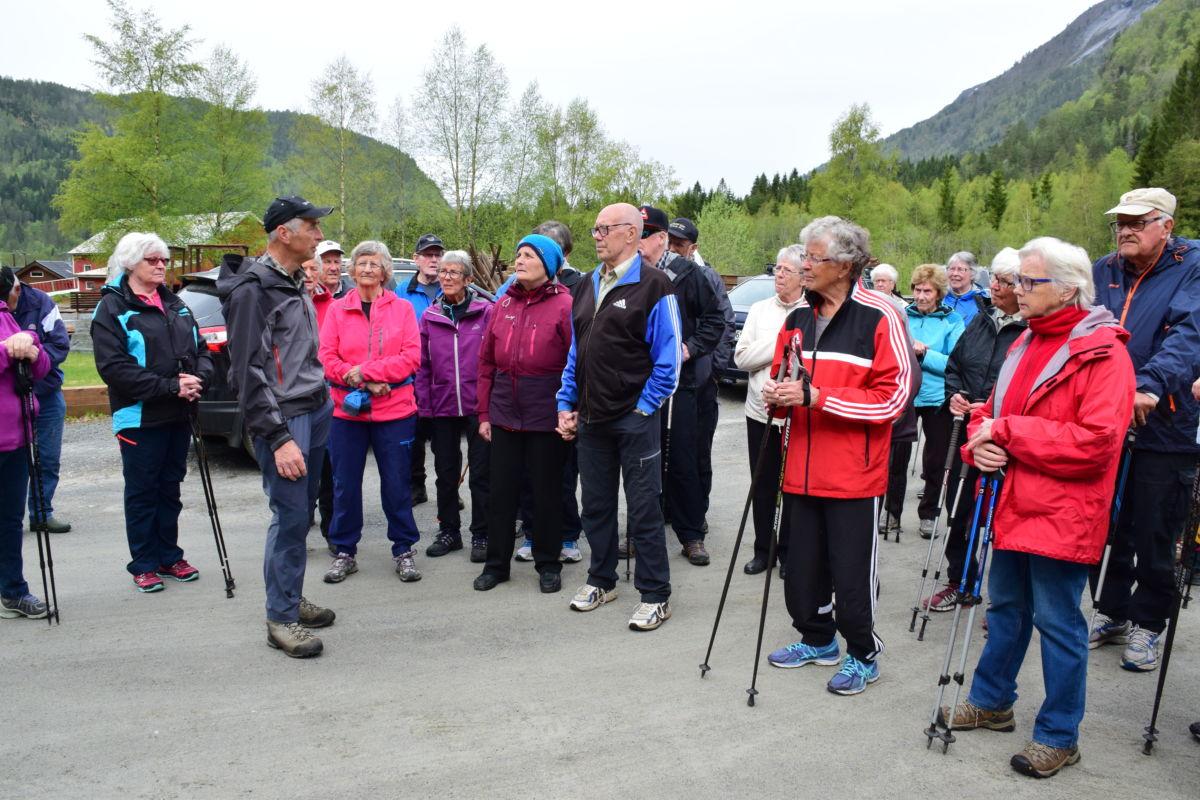 45 deltakarar på stavgangen i Brusetmarka. her blir gjengen informert om nærmiljøet.  Foto: Jon Olav Ørsal
