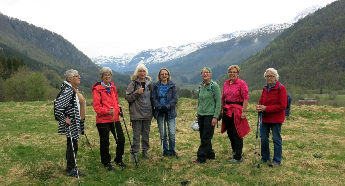 Oppå inner Flathaugen. Frå venstre: Ingunn, Jorunn, Åse, Dordi, Marit, Jorunn, Sigrun. Foto: Dordi J H