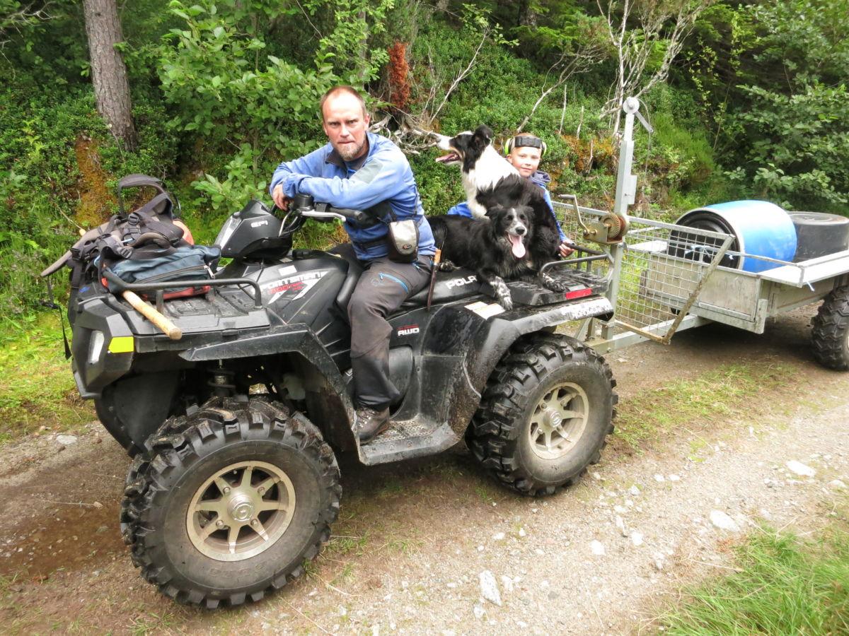 Vi trefte Per Åke og Nils Erik som hadde vore på tuilsynstur i Sula, saman med gjetarhundane Gaisa og Sita.  Foto. Jon Olav Ørsal