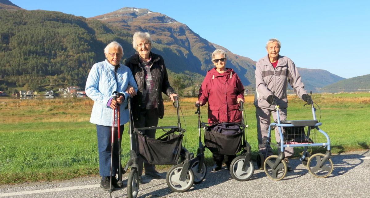 Kjekt å gå tur i flott ver. Frå venstre Lovise, Jenny, Ingrid og Kitty. Foto: Dordi J H