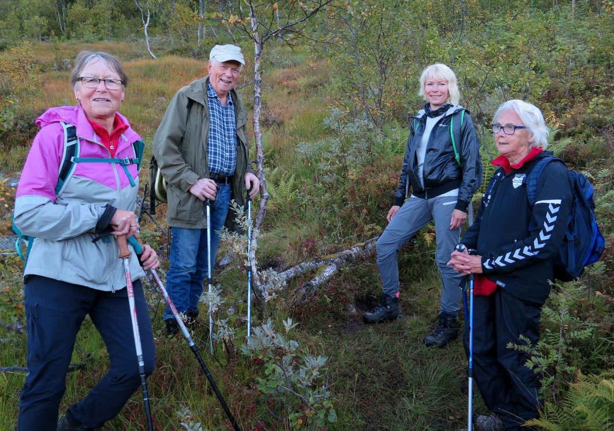 Todalingar på tur over fjellet frå Ålvundeid - Marit S. Søyset, Svein Åge Saksen, Steffi Bohle og Sigrun Ørsal.  Foto: Driva/Inge Nordvik