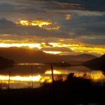 Solnedgang  i  november  ved  Hamnesfjorden.