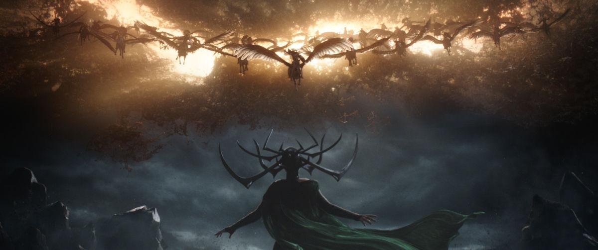 Marvel Studios' THOR: RAGNAROK..Hela (Cate Blanchett) in foreground..Ph: Film Frame..©Marvel Studios 2017