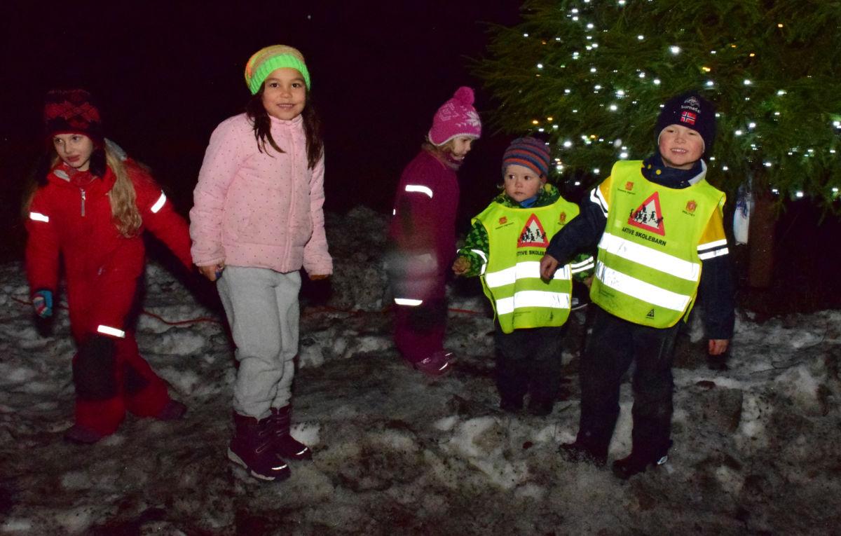 Så vart det lys på julegrana, og det var stas, tykte Aleksandra , Nathalie Astrid, Julia, Emil og Anders.  Foto: Jon Olav Ørsal