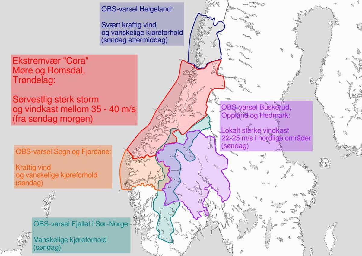 Det er sendt ut ekstremvarsel for området mellom Stadt og Rørvik søndag morgon og føremiddag.  Kart: Yr.no