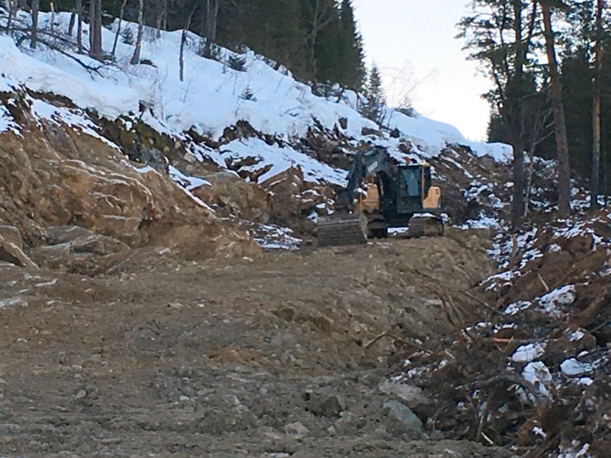 Så langt er nyvegen komen - målet er å få heilårs skogsbilveg fram til Skarvøymyra i denne omgang.  Foto: Jon Olav Ørsal