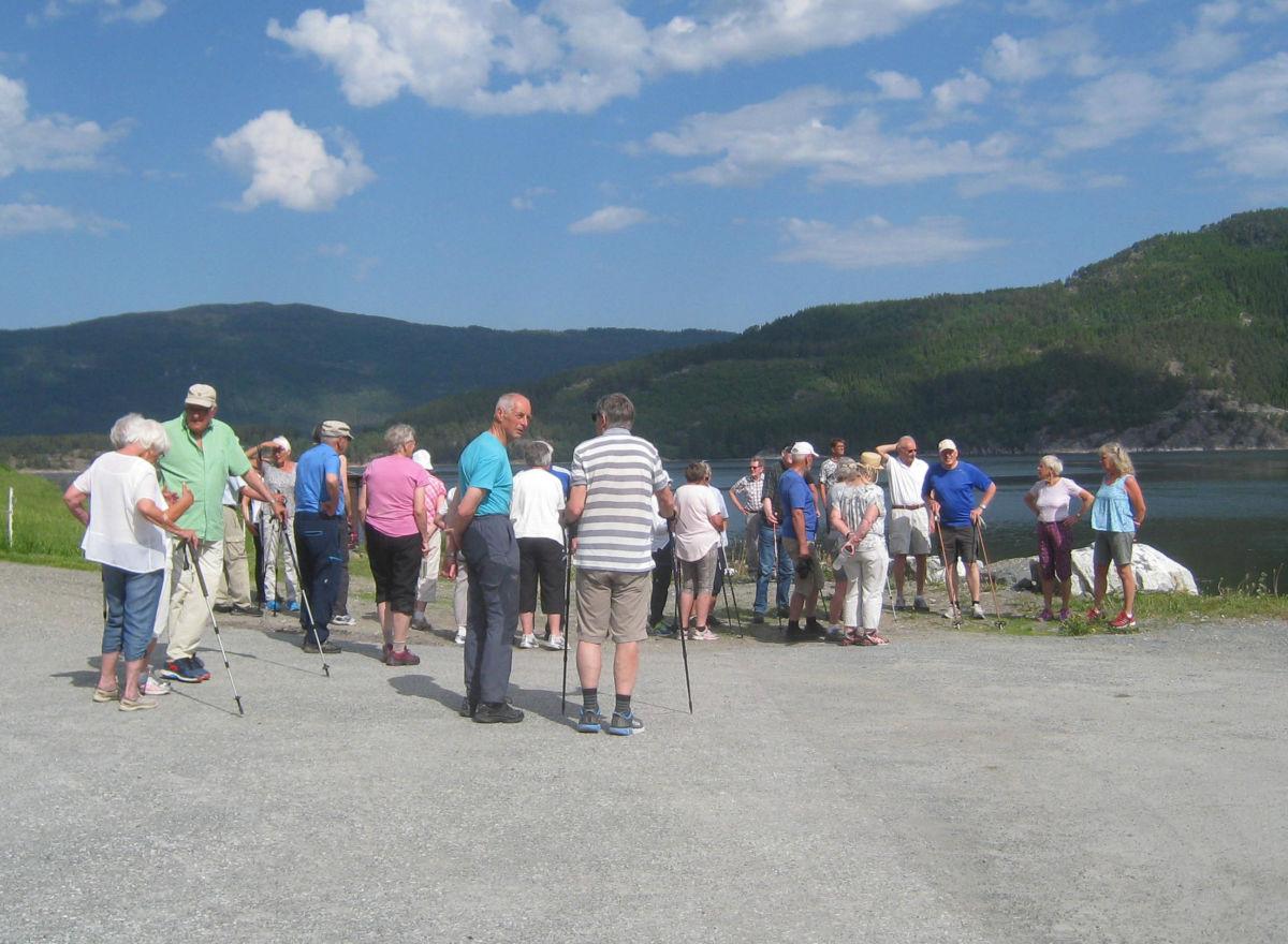 49 deltakarar på stavgangturen til Torvika torsdag.  Foto: Sigrun Ørsal