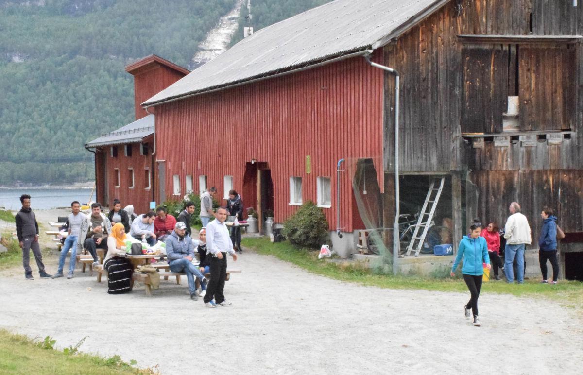 Håvard samla heile gjengen i gardstunet, og servert nystekte bakels og kaffe til heile gjengen.  Foto: Jon Olav Ørsal