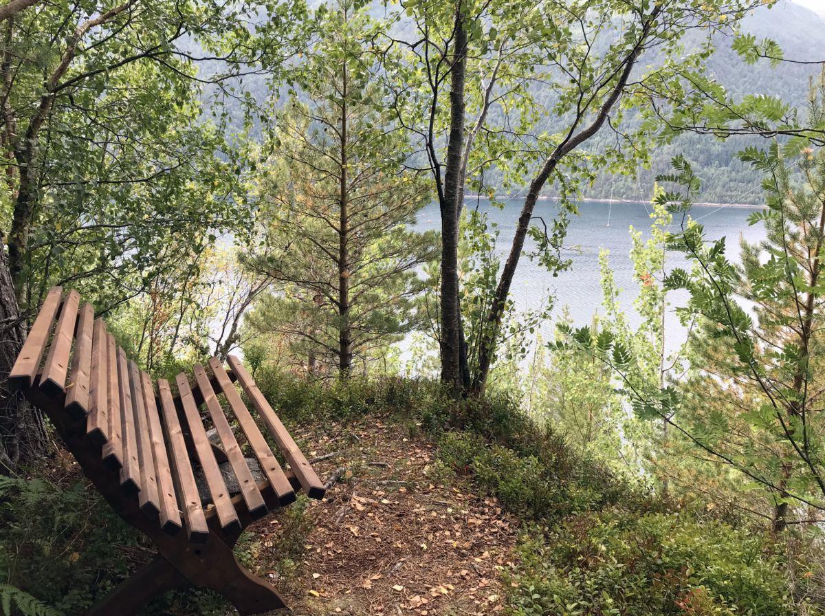 Ny benk oppå Kammen. Foto: Dordi J H