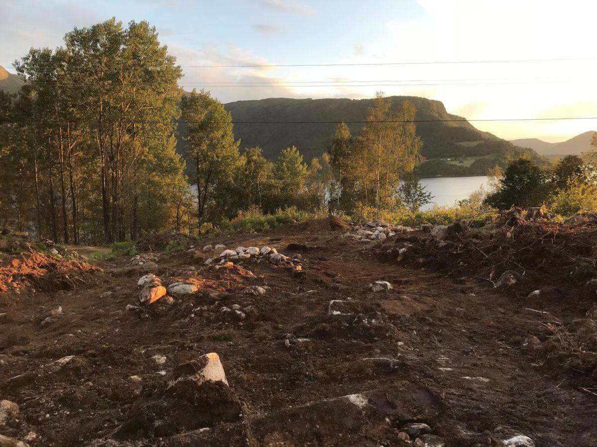 Her har arkeologane jobba og funne mykje rart.  Foto Åsgeir Frydenlund