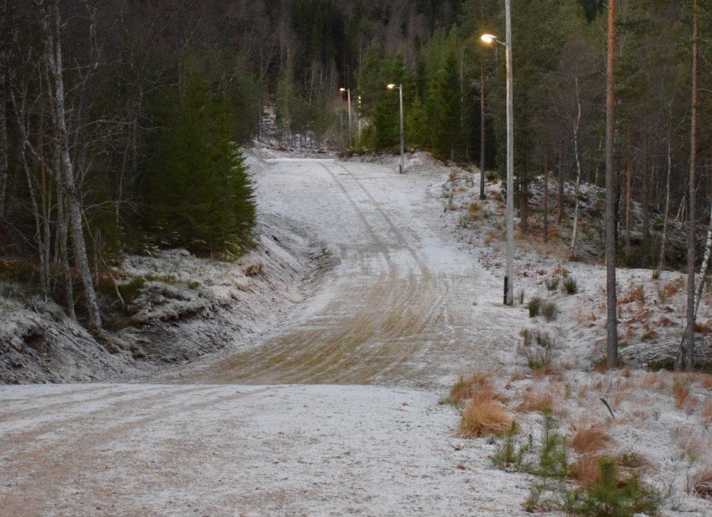 Kjempefin tur- og trimløype til fots i lysløypa på Tjønnmyran.  kanskje blir det snø snart?  Foto: Jon Olav Ørsal