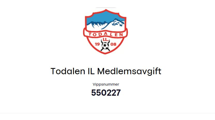 VIPPS  deg  et  medlemskap  i  Todalen  IL  2019