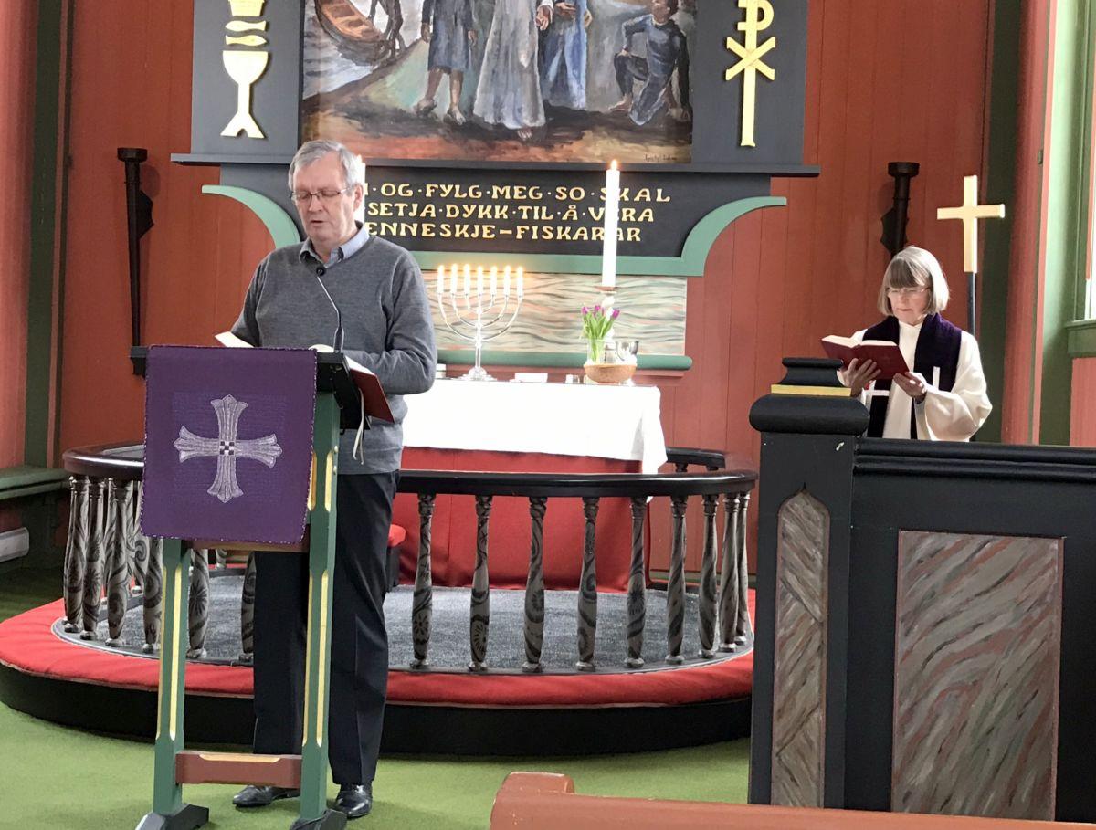 Gudsteneste i Todalen kyrkje, første søndag i fastetida. Foto: Dordi J H