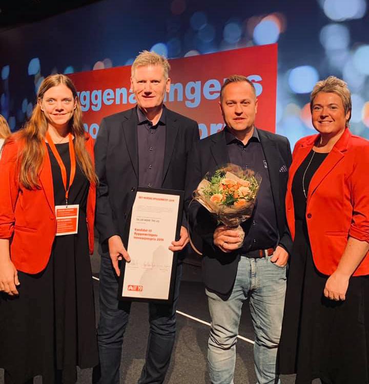 Vi er stolte over nominasjonen seier Janne Rangnes, Bjørn Hauglann, Brynjar Moe og Heid Snekvik som tok i mot heder for nominasjonen.  Foto: BRD