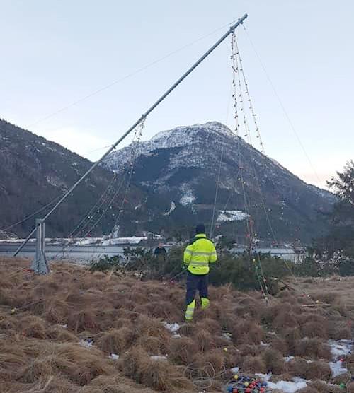 Pålen på veg opp - 12 meter blir årets variant.  Foto: Maria H. Halle