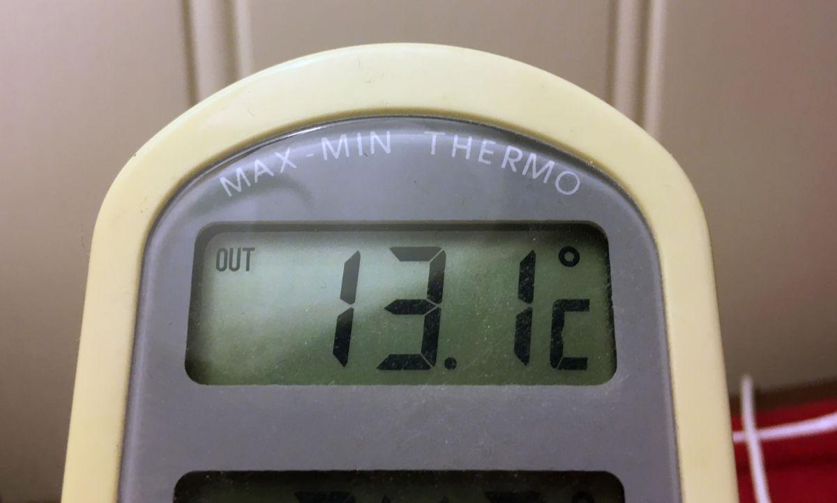 13,1 varmegrader i 10-tida utafor kontorvinduet.  Foto: Jon Olav Ørsal
