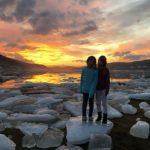 Isøyhopping  i  solnedgang