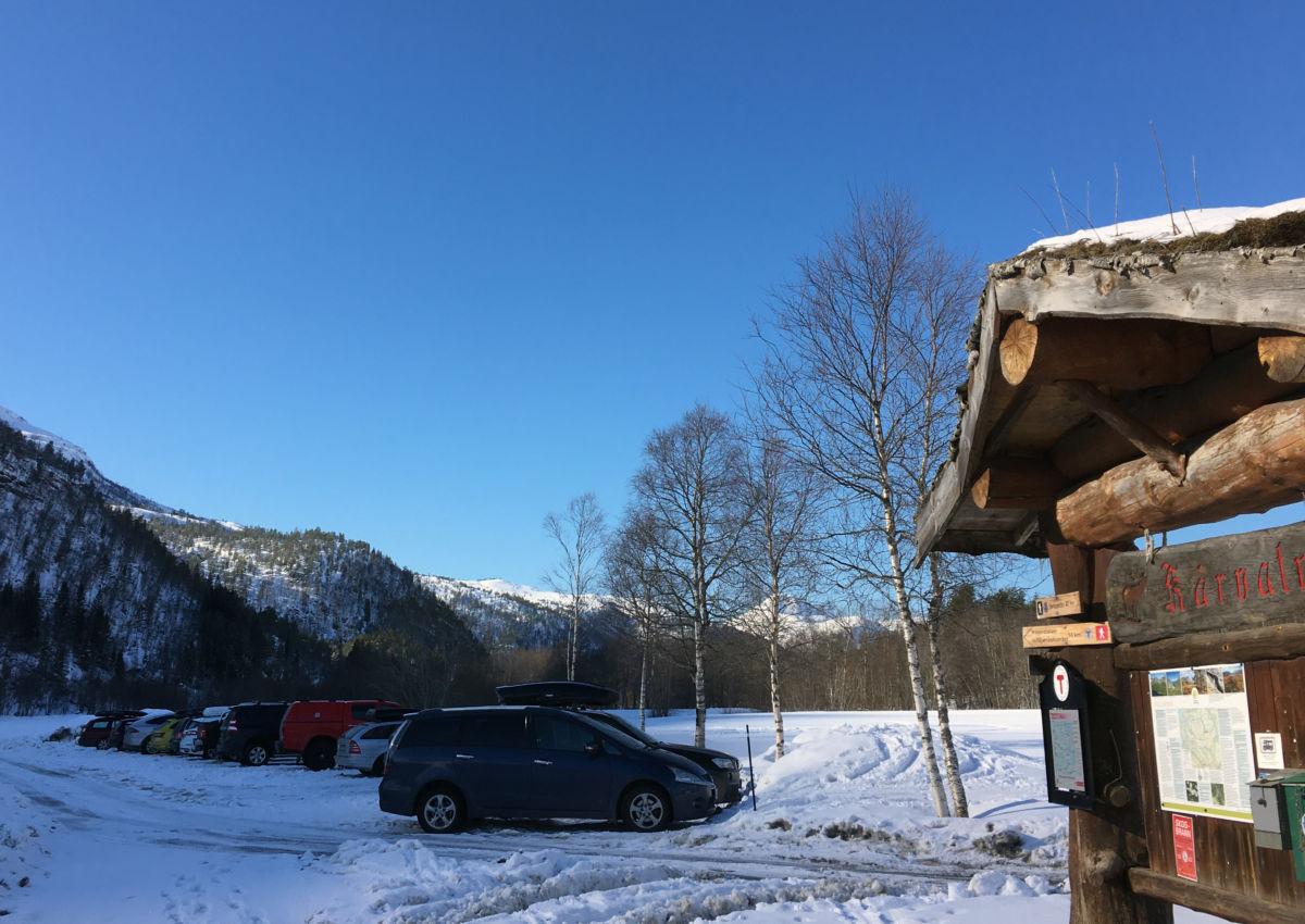 Det var nokre bilar på parkeringsplassen - skituristar som fikk Dalalia meir eller mindre for seg sjølv.  Foto:BK